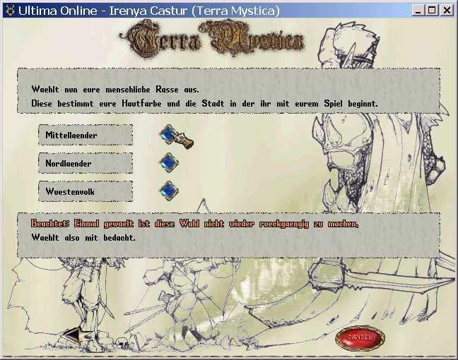 Das Menue mit dem ein Spieler einen neuen Charakter erstellt